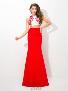 Sheath/Column High Neck Floor-Length Chiffon Two Piece Dress