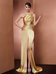 Sheath/Column One-Shoulder Elastic Woven Satin Sweep/Brush Train Dress