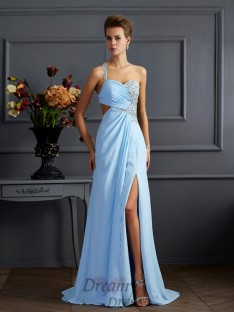 Sheath Column One-Shoulder Floor-length Chiffon Dress