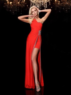 Sheath/Column One-Shoulder Floor-Length Spandex Dress