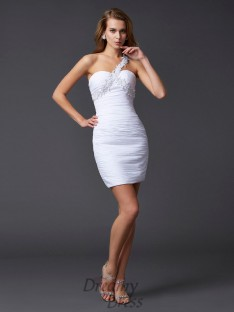 Sheath/Column One-Shoulder Short/Mini Chiffon Dress
