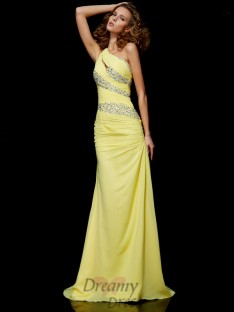 Sheath/Column One-shoulder Sweep/Brush Train Chiffon Dress