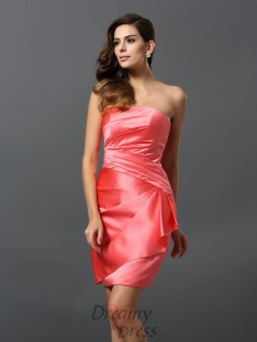 Sheath/Column Satin Strapless Short/Mini Dress