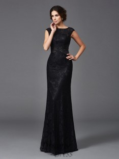 Sheath/Column Scoop Long Lace Mother of the Bride Dress