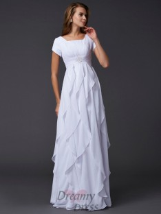 Sheath/Column Short Sleeves Square Chiffon Floor-Length Dress