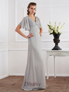 Sheath/Column Short Sleeves V-neck Floor-Length Chiffon Dress