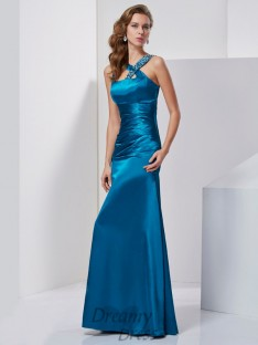 Sheath/Column Silk like Satin Straps Floor-Length Dress