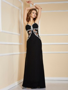 Sheath/Column Spaghetti Straps Floor-Length Chiffon Dress
