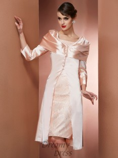 Sheath/Column Square Knee-Length Elastic Woven Satin Dress