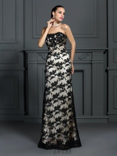 Sheath/Column Strapless Lace Sweep/Brush Train Elastic Woven Satin Dress