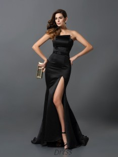 Sheath/Column Strapless Satin Floor-Length Dress