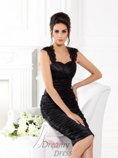 Sheath/Column Straps Knee-Length Taffeta Dress