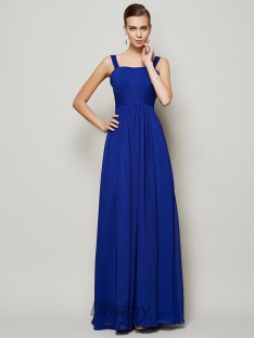 Sheath/Column Straps Pleats Floor-Length Chiffon Dress