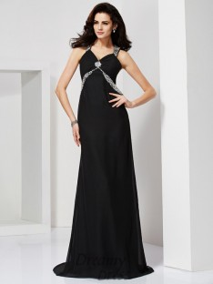 Sheath/Column Straps Sweep/Brush Train Chiffon Dress