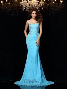 Sheath/Column Sweetheart Court Train Chiffon Dress