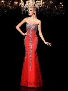 Sheath/Column Sweetheart Net Long Dress