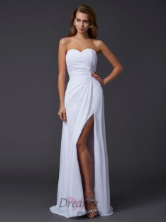 Sheath/Column Sweetheart Pleats Floor-Length Chiffon Dress
