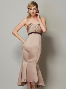 Sheath/Column Sweetheart Satin Sash/Ribbon/Belt Tea-Length Dress