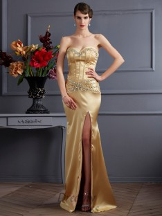Sheath/Column Sweetheart Sweep/Brush Train Elastic Woven Satin Dress