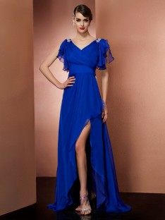 Sheath/Column V-neck Asymmetrical Chiffon Dress
