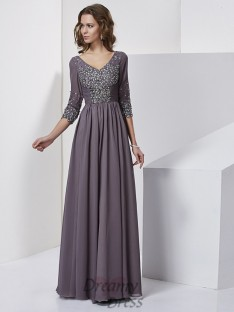 Sheath/Column V-neck Floor-Length 3/4 Sleeves Chiffon Dress