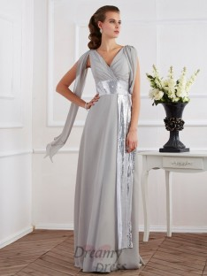 Sheath/Column V-neck Short Sleeves Floor-Length Chiffon Dress