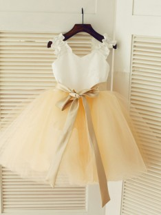Straps Ball Gown Floor-length Tulle Flower Girl Dresses with Sash/Ribbon/Belt