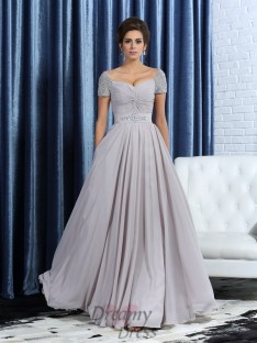 Sweetheart Short Sleeves Ankle-Length Chiffon Mother of the Bride Dress