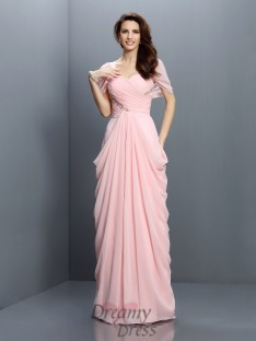 Sweetheart Short Sleeves Floor-Length Chiffon Bridesmaid Dress