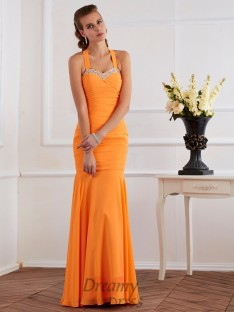 Trumpet/Mermaid Halter Floor-Length Chiffon Dress