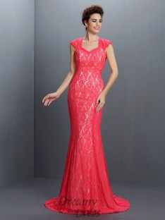 Trumpet/Mermaid Lace Sweep/Brush Train Lace Dress