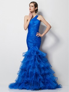 Trumpet/Mermaid One-Shoulder Pleats Sweep/Brush Train Tulle Dress