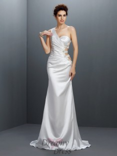 Trumpet/Mermaid One-Shoulder Sweep/Brush Train Elastic Woven Satin Dress