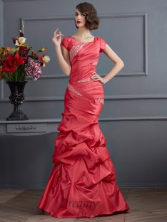 Trumpet/Mermaid Scoop Short Sleeves Floor-Length Taffeta Dress