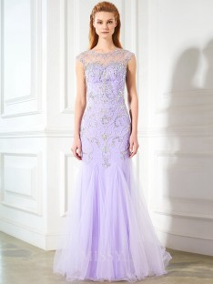 Trumpet/Mermaid Scoop Sleeveless Floor-length Tulle Dress