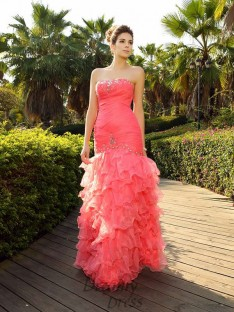 Trumpet/Mermaid Strapless Floor-Length Organza Dress