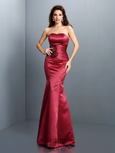 Trumpet/Mermaid Strapless Satin Long Dress