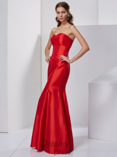Trumpet/Mermaid Sweetheart Pleats Taffeta Floor-Length Dress
