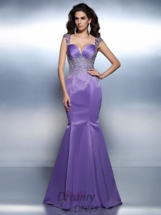 Trumpet/Mermaid Sweetheart Straps Sweep/Brush Train Satin Dress