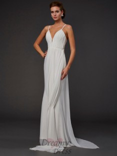 Trumpet Mermaid V-neck Floor-length Chiffon Dress