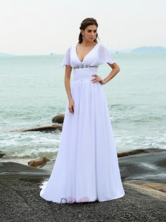 V-neck Short Sleeves Sweep/Brush Train Chiffon Wedding Dress